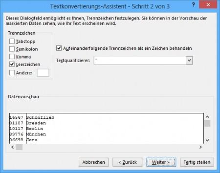 Excel-Funktionen: Text in Spalten Schritt 2