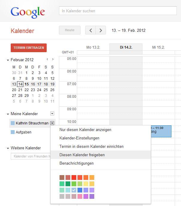 Freigabe google-Kalender Schritt 1