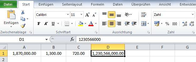 Excel 2010 amerikanisches Zahlenformat Anwendung