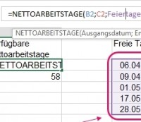 Excel nettoarbeitstage Funktion