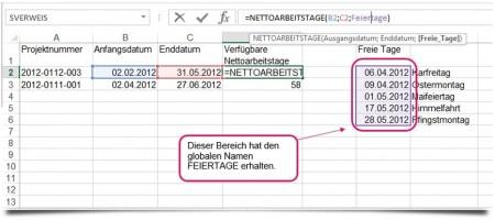 Nettoarbeitstage berechnen Excel 2013