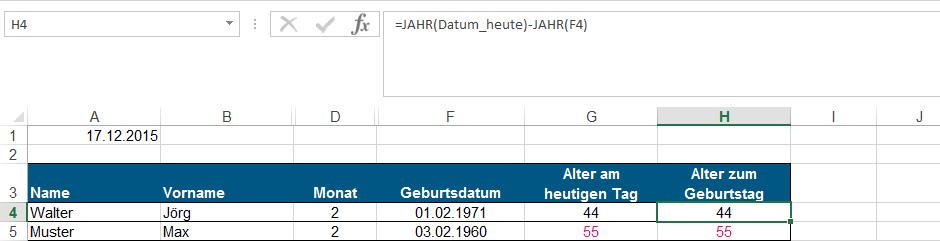 Geburtstagskalender Berechnung des Alters nach dem Geburtstag