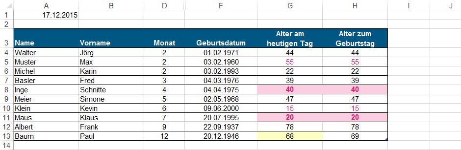 Geburtstagskalender in Excel Komplettansicht