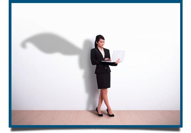 Frau mit Superkraft Office Wissen